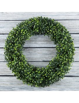 Boxwood Wreath, Artificial Wreath For The Front Door By Pure Garden, Home Decor, Uv Resistant   19.5 Inches by Pure Garden