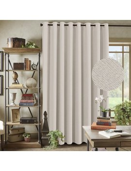 "H.Versailtex Functional Room Divider Curtain Textured Linen Extra Long And Wide Thermal Insulated Panels  Grommet Wider Curtain Large Size 100""W By 84""L For Patio Door   Charcoal Gray, Set Of 1 by H.Versailtex"