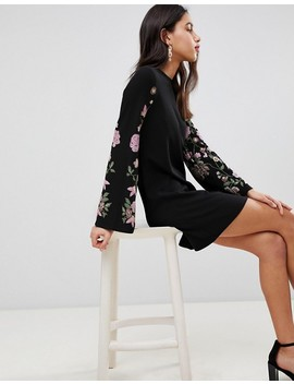 Asos Design Sweat Dress With Puff Print Sleeve by Asos Design