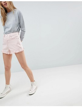 Asos Denim Short In Washed Pink With Frill Hem by Asos Collection