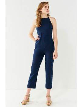 Uo Hattie High Neck Linen Jumpsuit by Urban Outfitters