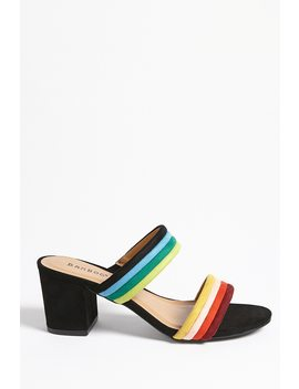 Double Strap Striped Mules by Forever 21