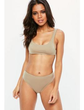 Nude High Waist Textured Bikini Set by Missguided
