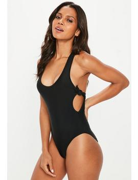 Black Double Bow Cross Back High Leg Swimsuit by Missguided
