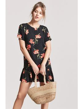 Floral &Amp; Dot Print Shift Dress by F21 Contemporary