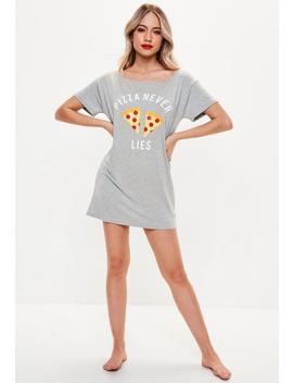 Gray Pizza Emoji Night Tshirt by Missguided