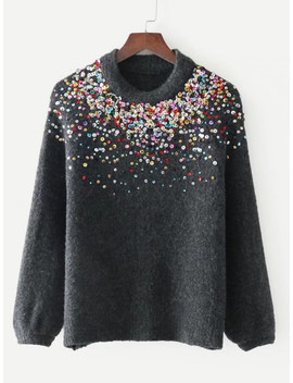 Sequin Embellished Raglan Sleeve Sweater by Sheinside