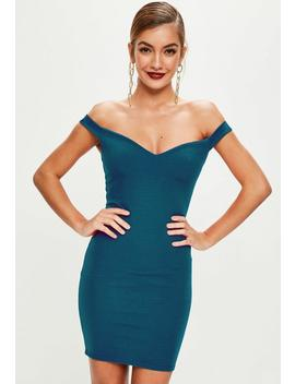 Blue Sweetheart Bardot Dress by Missguided