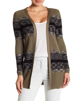 Stripe Ribbed Long Cardigan (Petite) by Cable & Gauge