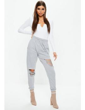 White Long Sleeve Ribbed Notch Front Bodysuit by Missguided