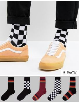 Asos Socks With Stripe & Checkerboard Design 5 Pack by Asos