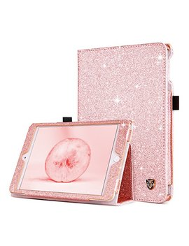 I Pad Mini 4 Case, Bentoben Slim Lightweight Glitter Bling Pu Leather Stand Smart Folio Case Girls Cute Cover With Auto Sleep/Wake Function For Apple I Pad Mini 4 2015 Release (7.9 Inch), Rose Gold by Bentoben