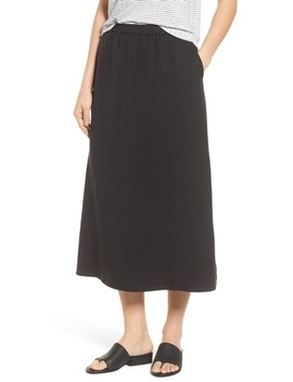 Tencel® & Linen Midi Skirt by Eileen Fisher