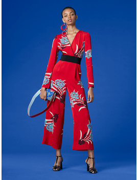 Long Sleeve Cross Over Jumpsuit by Dvf