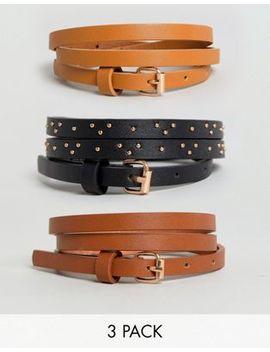 New Look 3 Pack Stud Skinny Belts by New Look