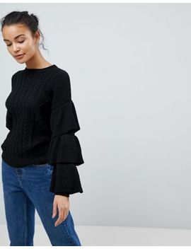 Fashion Union Cable Knit Sweater With Frill Sleeves by Fashion Union
