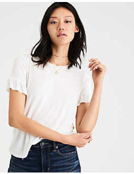 Ae Soft & Sexy Ruffle Sleeve T Shirt by American Eagle Outfitters