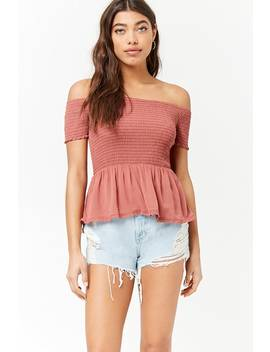 Smocked Off The Shoulder Embroidered Lace Top by Forever 21