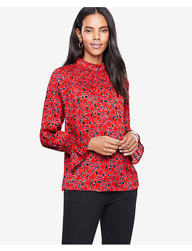 Petite Trumpet Floral Smocked Blouse by Ann Taylor