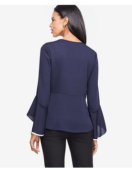 Tipped Flare Sleeve Peplum Top by Ann Taylor