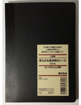 Muji High Quality Paper Notebook A6 6mm Rule 72sheets by Muji