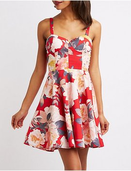 Floral Bustier Skater Dress by Charlotte Russe