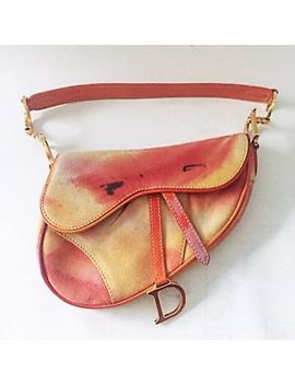 Vintage Christian Dior Saddle Bag Orange Yellow Multicolor Watercolor Effect Ghw by Dior