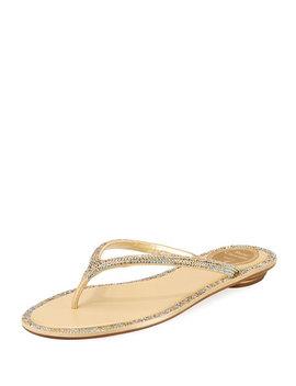 Flat Strass Thong Sandal by Rene Caovilla