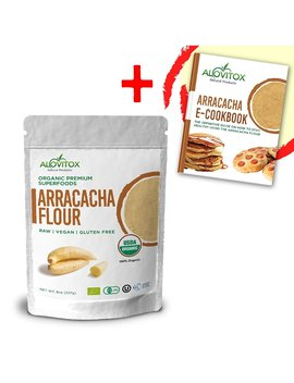 Arracacha Flour   Certified Organic Wheat Substitute, Raw, Gluten Free, Low Carb, Low Calorie Starch   Free E Cookbook By Alovitox 8oz by Alovitox