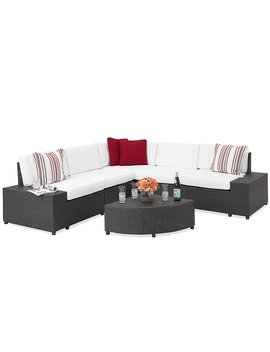 Best Choice Products Patio Furniture 6 Piece Wicker Sectional Sofa Set W/ Corner Coffee Table  Gray by Best Choice Products