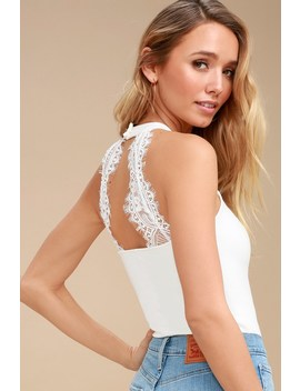 Twilight Time White Lace Halter Bodysuit by Lulus