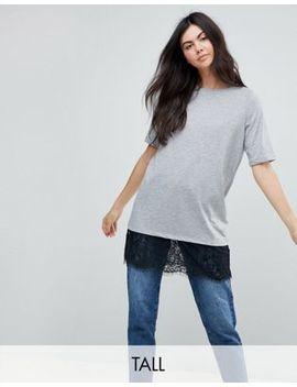 Noisy May Tall T Shirt With Lace Hem by Noisy May Tall