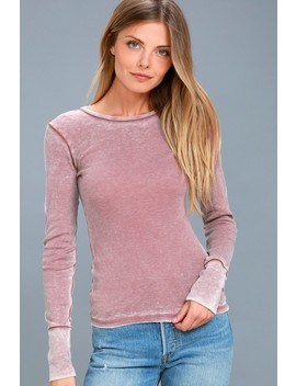 Nolder Washed Mauve Long Sleeve Top by Project Social T