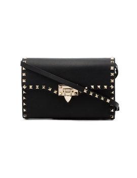 Black Rockstud Small Leather Shoulder Bag by Valentino