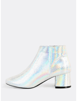 Irridescent Side Zipper Snake Print Booties Silver by Sheinside
