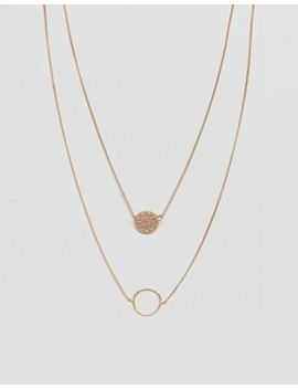 Asos Design Filigree Disc And Open Circle Multirow Necklace by Asos Collection