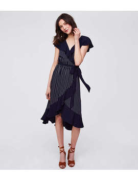 Petite Pinstripe Ruffle Wrap Dress by Loft
