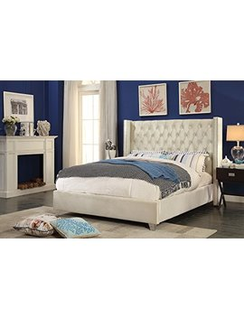 Meridian Furniture Aiden Cream Q Aiden Velvet Upholstered Button Tufted Wingback Bed With Chrome Nailhead Trim And Custom Chrome Legs, Queen, Cream by Meridian Furniture
