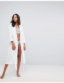 Asos Longer Midi Waffle Hotel Robe In 100 Percents Cotton by Asos Collection
