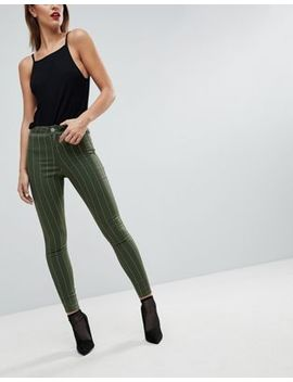 Asos Rivington High Waisted Denim Jeggings In Khaki With Neon Pink Stripe Print by Asos Collection