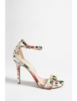 Floral Print Satin Heels by Forever 21