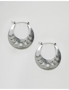 Asos Design Cut Out Moon Phase Hoop Earrings by Asos Design