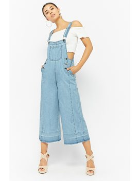 Wide Leg Denim Overalls by Forever 21