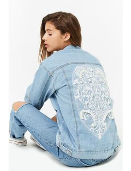 Faux Pearl Denim Jacket by Forever 21