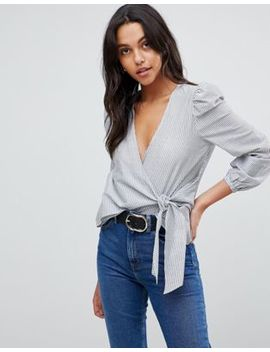 River Island Wrap Front Stripe Blouse by River Island