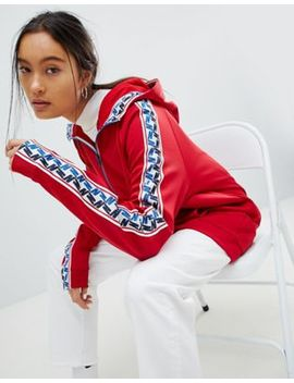Nike Half Zip Track Jacket In Red With Taped Side Stripe by Nike