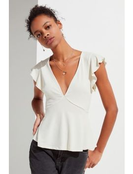 Uo Flutter Sleeve Babydoll Top by Urban Outfitters