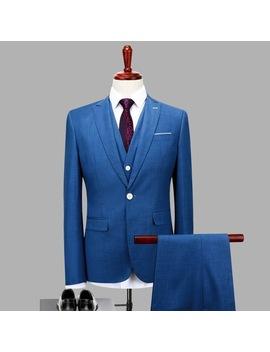 3pc(Jacket+Pants+Vest) Classic Men Suit Slim Fit Royal Blue Wedding Groom Wear Men Suit Gentlemen Costume Mariage Homme Tuxedo by Eric's
