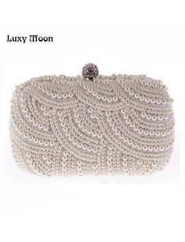 100 Percents Hand Made Luxury Pearl Clutch Bags Women Purse Diamond Chain White Evening Bags For Party Wedding Black Bolsa Feminina by Yiwu Global Trade