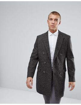 River Island Check Overcoat In Brown by River Island